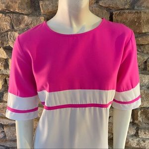 Tobi Dresses - Tobi Hot Pink and White Shirt Dress Size 10